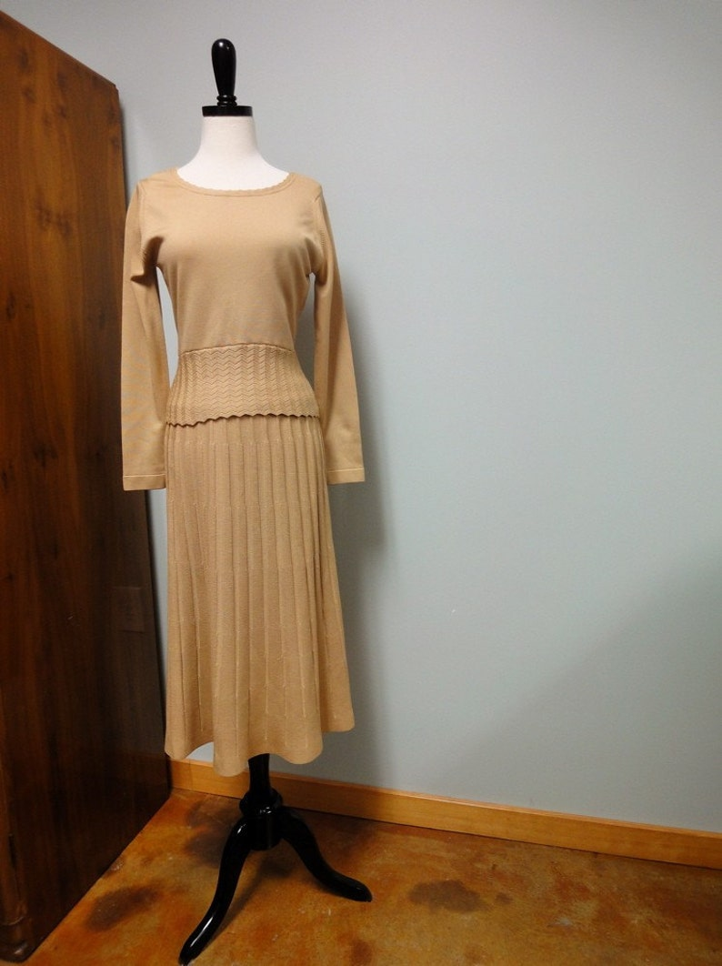 1970s Givenchy Sport Qiana Knit Skirt Sweater Set Camel Tan image 0