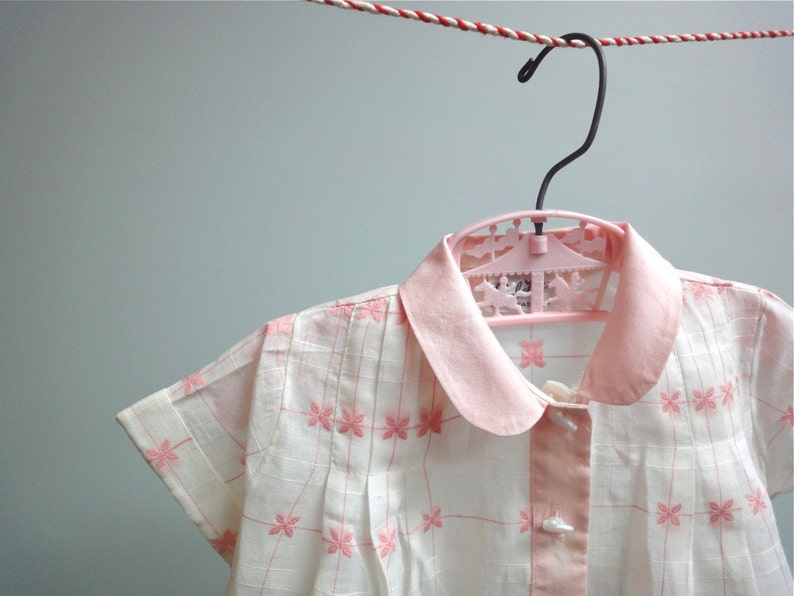 Heirloom Baby Girl Diaper Shirt in Cotton Organdy Window Pane image 0