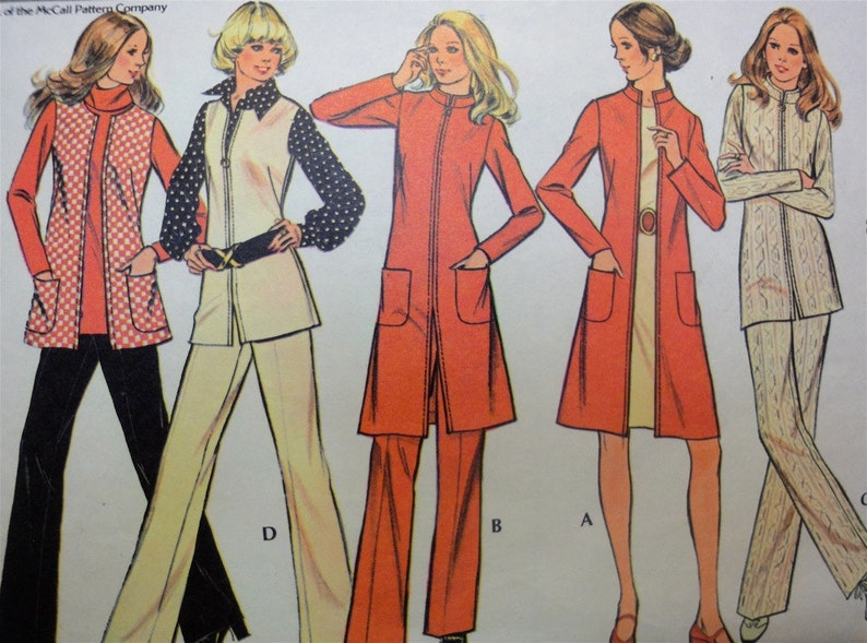 Vintage 1972 McCalls Sewing Pattern 3323 Slim Nehru Collar image 0