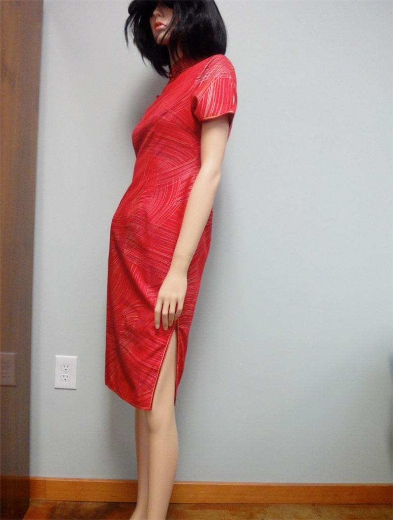 Vintage 70s Asian Wiggle Dress Red Cotton Cheongsam Qipau image 0