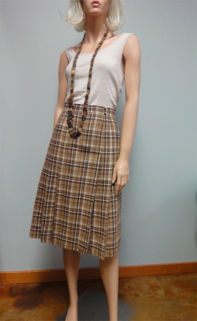 Vintage Camel Tan Plaid Skirt 70s 80s Tartan Pleated Wool image 0