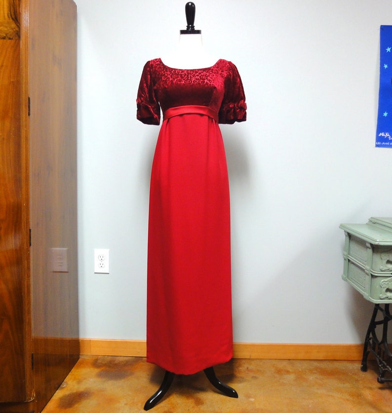 Vintage 60s Deep Cranberry Red Formal Dress for Prom or image 0