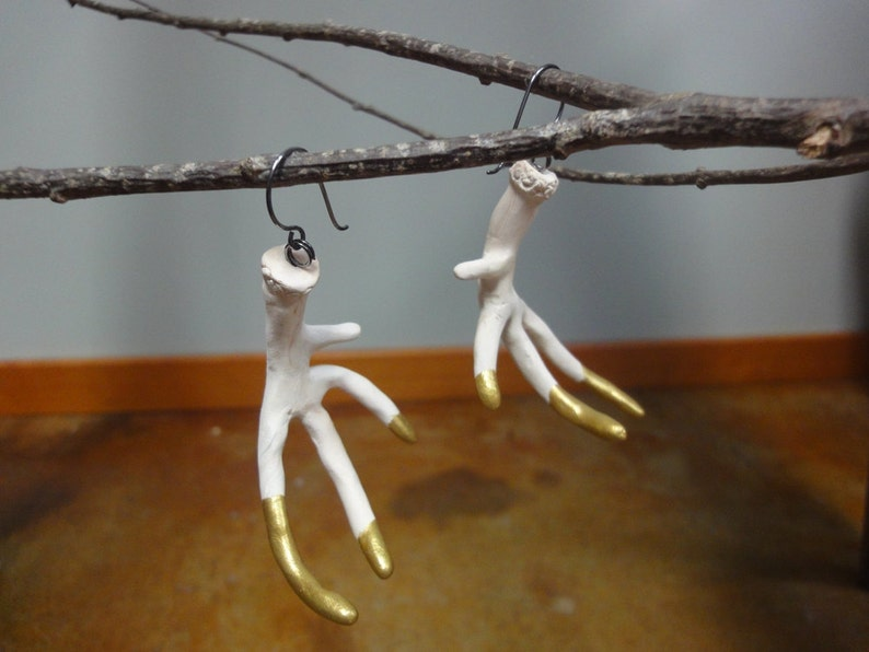 Handmade Large White Antler Earrings Gold Tipped Statement image 0