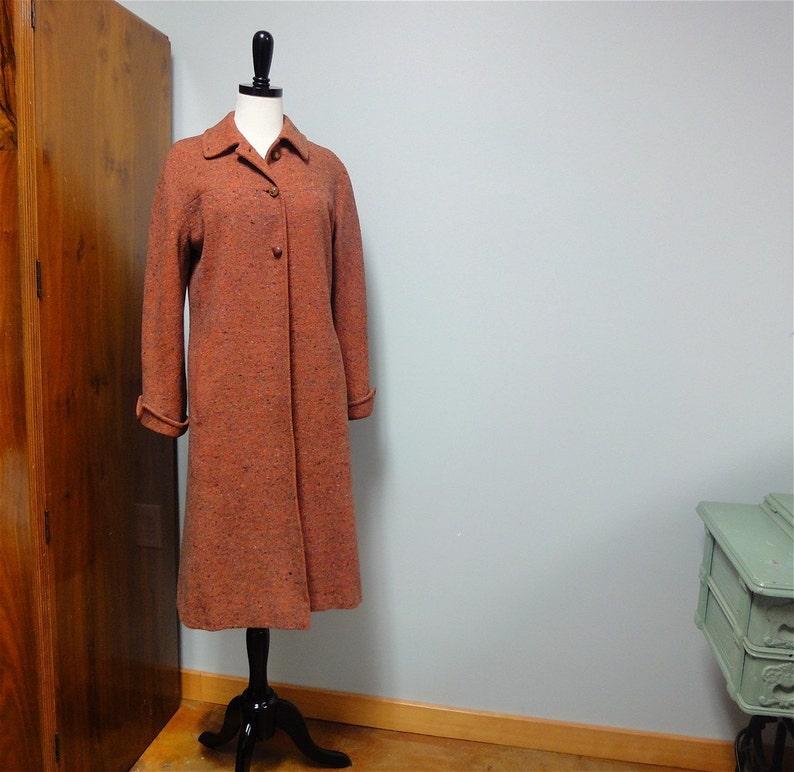 1940s Tweed Coat Vera Maxwell Original Wool  Orange Spice image 0