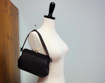 Vintage 1940s MEL-TON Handbag Evening Purse Dark Chocolate Brown Deco Clasp