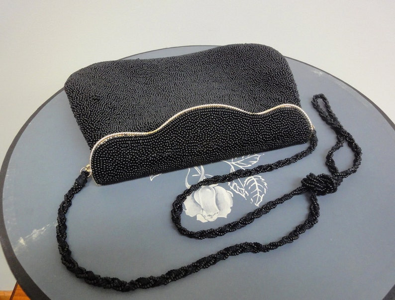 Vintage Black Glass Beaded Handbag Beautiful Evening Purse image 0