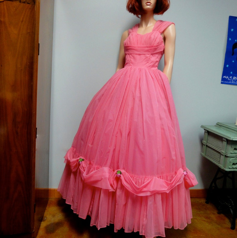 Vintage 1950s Party Dress Lipstick Pink Chiffon Prom Gown image 0