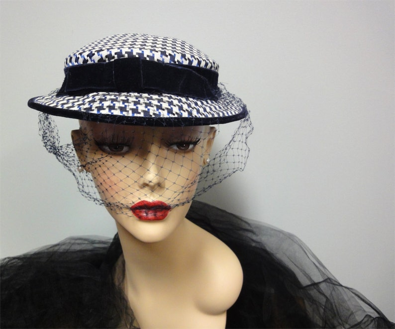 1950s Houndstooth Check Hat Navy Blue White Silk Seabrook image 0