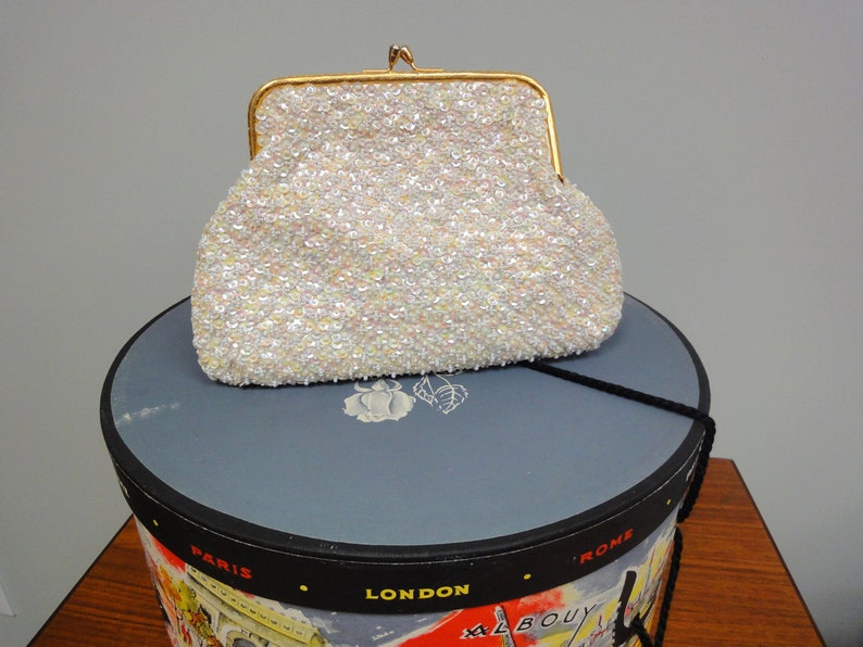 Vintage 50s 60s Beaded Bag Sequined Handbag Hong Kong image 0
