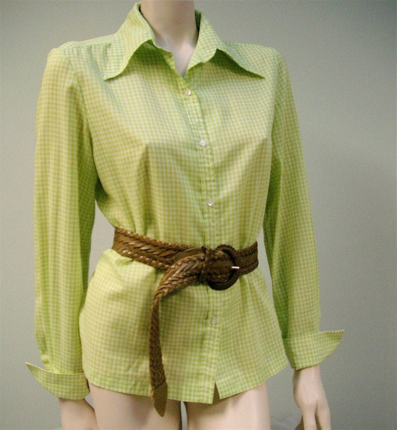 Vintage Gingham Blouse Ivan Kafoury Designs Shirt Green and image 0
