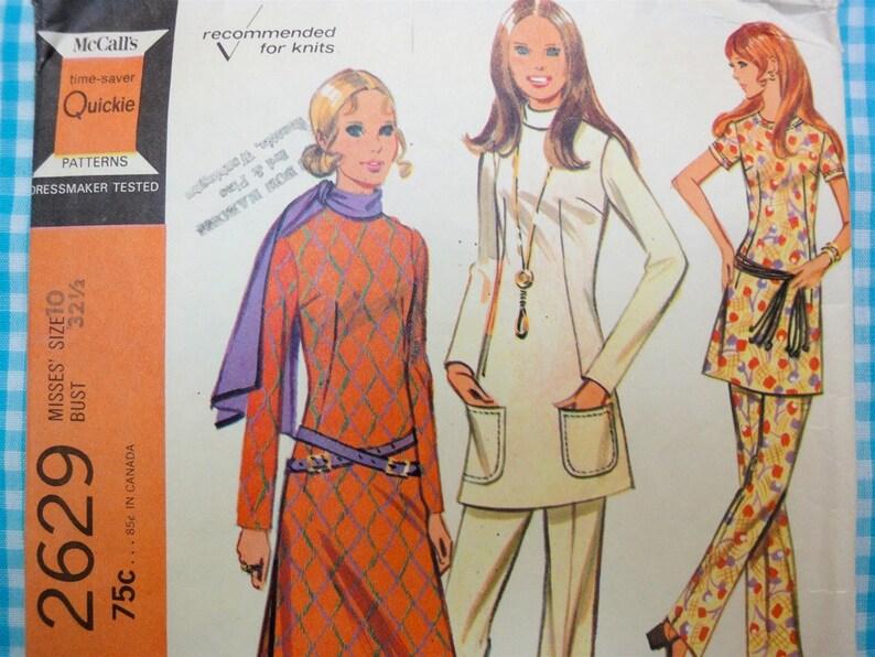Vintage 1970 McCalls Sewing Pattern 2629 Slim Tunic Top image 0