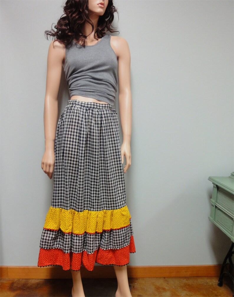 Vintage 70s Prairie Skirt Gingham Skirt Rockabilly Square image 0
