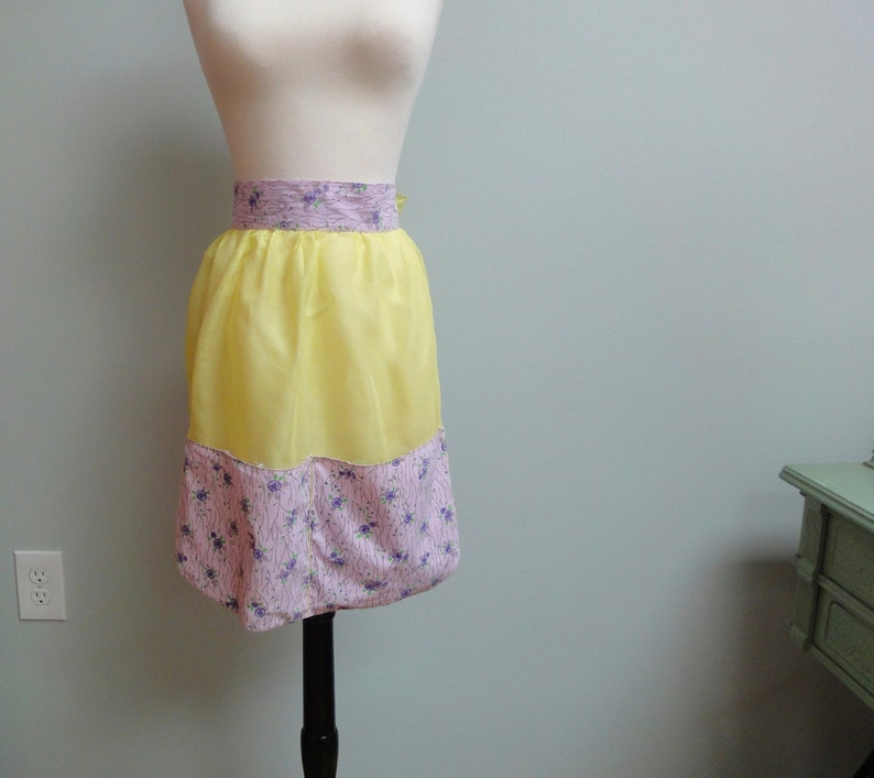 Vintage 50s Cotton Organdy Apron Sheer Acid Yellow and image 0
