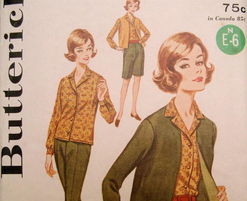 Vintage 1960s Mod Butterick 2424 Skirt Jacket Shirt Pants image 0