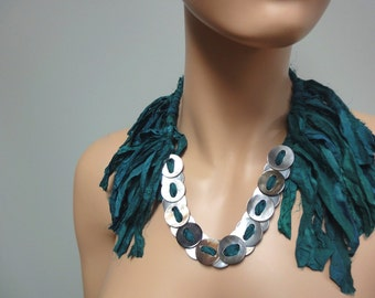 Handmade Fringe Collar Necklace of Silk, Abalone Buttons OOAK Statement SEAWEED