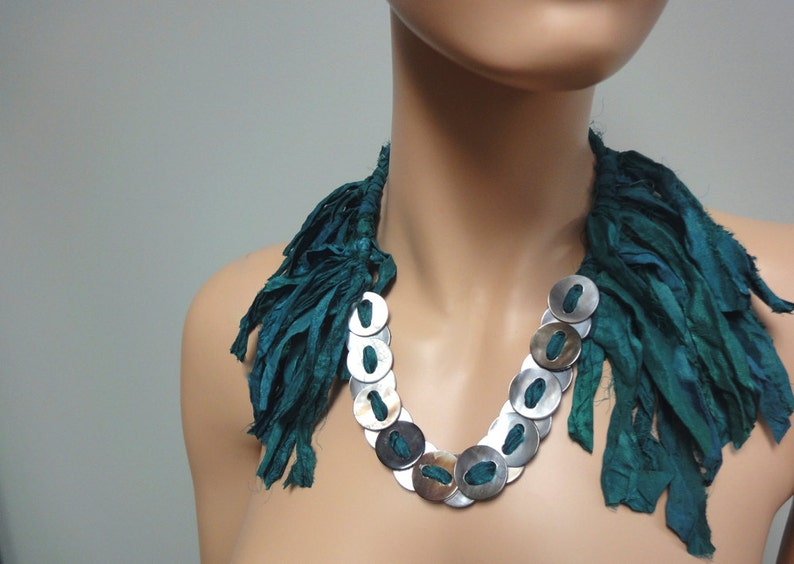 Handmade Fringe Collar Necklace of Silk Abalone Buttons OOAK image 0
