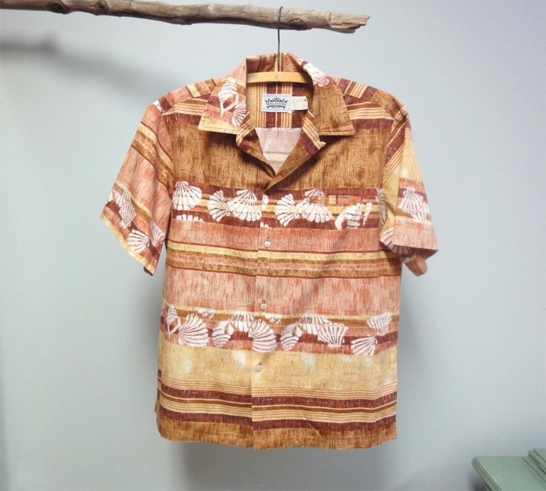Vintage 80s Malahini Hawaiian Shirt Tapa Cloth Shell Stamp image 0