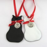 Cat Ornament,Personalized Custom Enameled Cat Ornament,Available in Six Different Choices with Sterling Silver Hand Stamped Name
