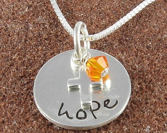 Leukemia Necklace, Sterling Silver Hope Pendant with Sterling Silver Cross and Orange Swarovski Crystal