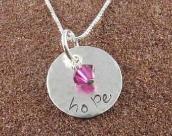 Hope Necklace,Hand Stamped Sterling Silver with Swarovski Birthstone Crystal