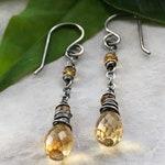 Citrine Earrings, November Birthstone, Dainty Yellow Gemstone Crystal Earrings, Sterling Silver, Elegant Bohemian Jewelry, Gift for Her