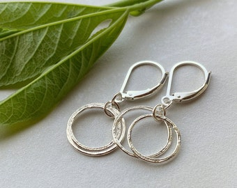 Tiny Hoops Circle Earrings, Minimalist Sterling Silver Small Hammered Circles Leverback Dangle Earrings, Everyday Elegance, Lightweight