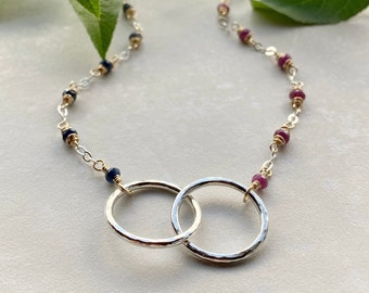 """Birthstone Connected Circles Necklace with 3/4"""" Circles, Sterling Silver Gemstone Mixed Metal Infinity, Interlocking Rings Gift for Her"""