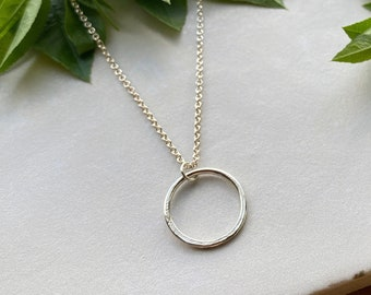 Organically Shaped Minimalist Circle Necklace, Sterling Silver Everyday Open Circle, Meaningful Jewelry, Elegant Active Style