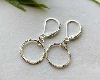 Minimalist Open Circle Earrings, Organic Textured Bright Sterling Silver, Everyday Elegance Easy Style