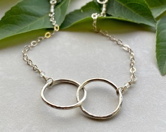 Connection & Love Bracelet, Sterling Silver Intertwined Equal Sized Circles, Best Friend or Anniversary Gift for Her