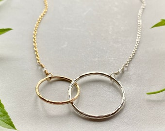 """Mixed Metal Connected Circles Necklace, 1"""" & 3/4"""" Circles, Sterling Silver and Gold Fill Eternity Necklace, Mother's Day Gift, Adjustable"""