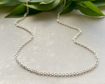 Bright Sterling Silver 1.5mm Cable Chain for Bracelet, Anklet, Necklace Pendants & Charms, Lightweight Everyday Chain