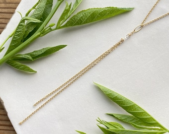 Delicate Gold Y Necklace, Chain Charm Crystal Pendant, Interchangeable Layering Minimalist Y Drop Necklace