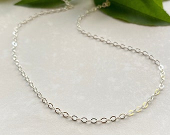 Bright Sterling Silver 2.2mm Flat Cable Chain, Bracelet, Ankle Bracelet, Necklace Chain for Pendants or Charms, Sparkly Everyday Chain