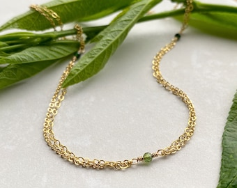Green Satellite Necklace, Gold Filled Tourmaline Double Chain Elegant Layering Summer Jewelry, October Birthstone