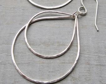 Teardrop Hoops, Sterling Silver Boho Earrings with Movement, Double Teardrop Earrings
