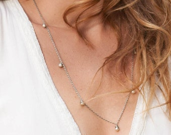 Silver Bead Necklace, Long Sterling Silver Layering Necklace