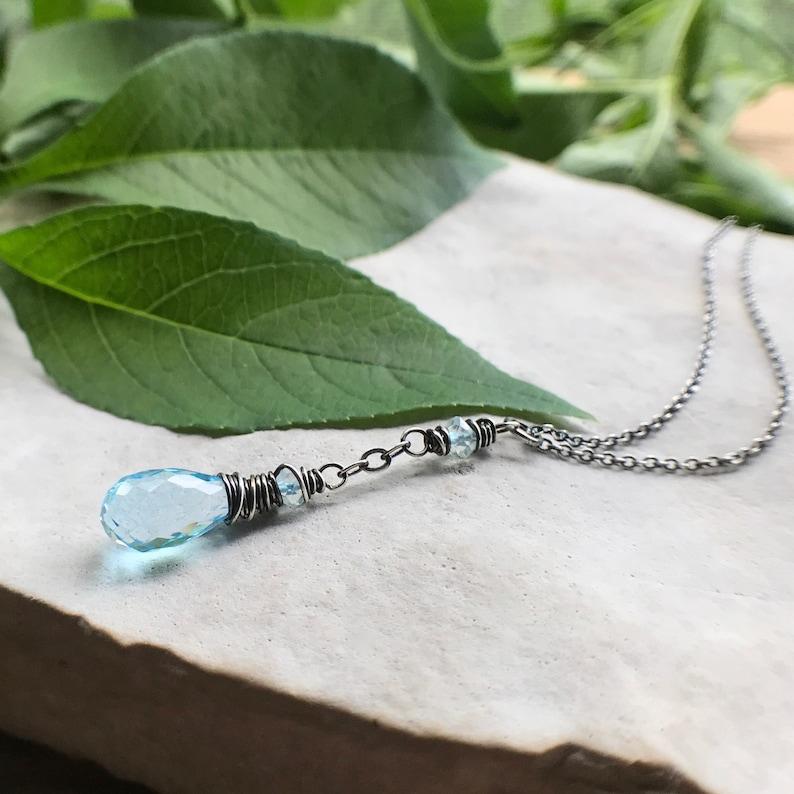 Blue Topaz Necklace Elegant Bohemian Crystal Necklace image 0