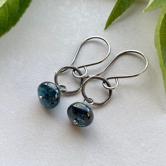 Natural Crystals Reddish Brown Minimalist Jewelry Kyanite Earrings Silver Wire Swirls Gift Organic Shapes Blue Green Blue Kyanite