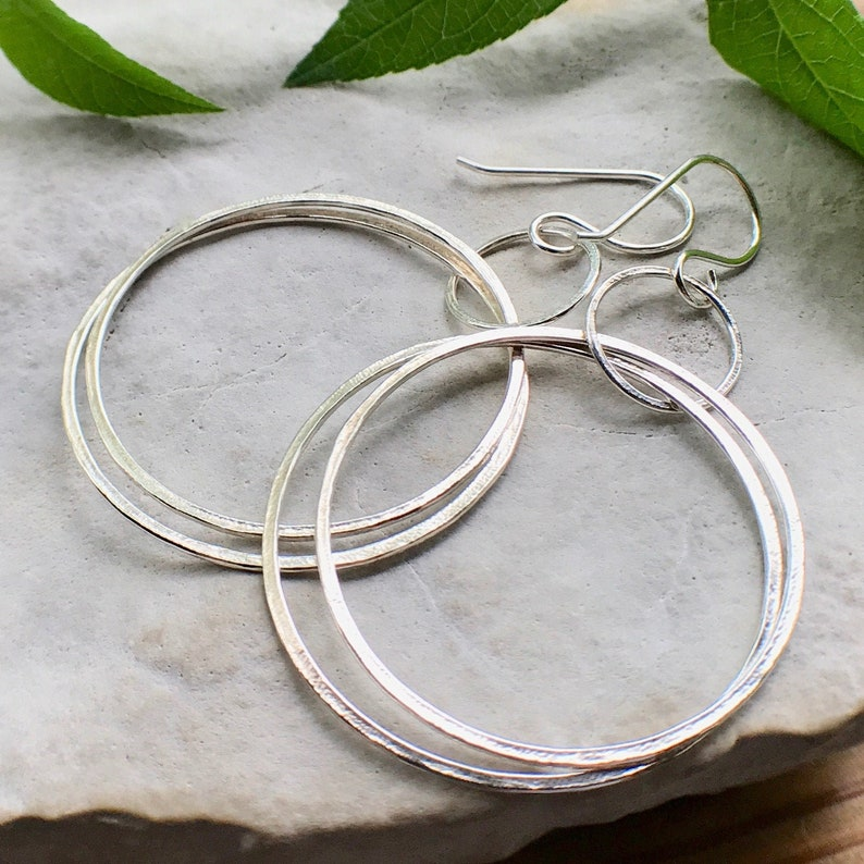 Double Hoop Earrings Sterling Silver Hammered Thin Circle image 0