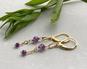 Gold Amethyst Earrings,  Beaded Gemstone Chain Dangle Earrings, Elegant Bohemian Style, February Birthstone