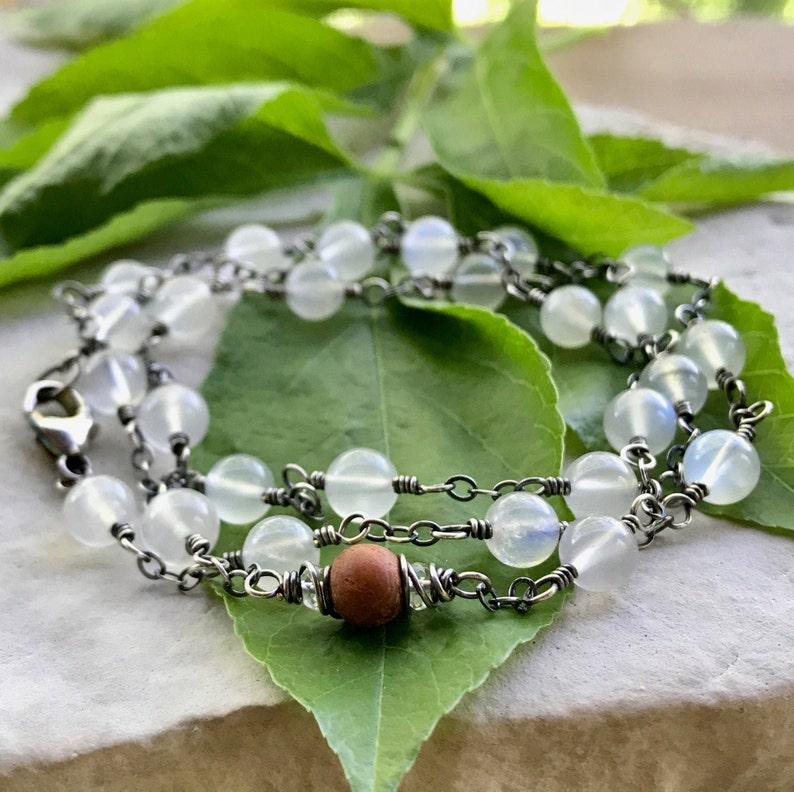 Moonstone Bracelet Wrap Bracelet Aromatherapy Necklace June image 0