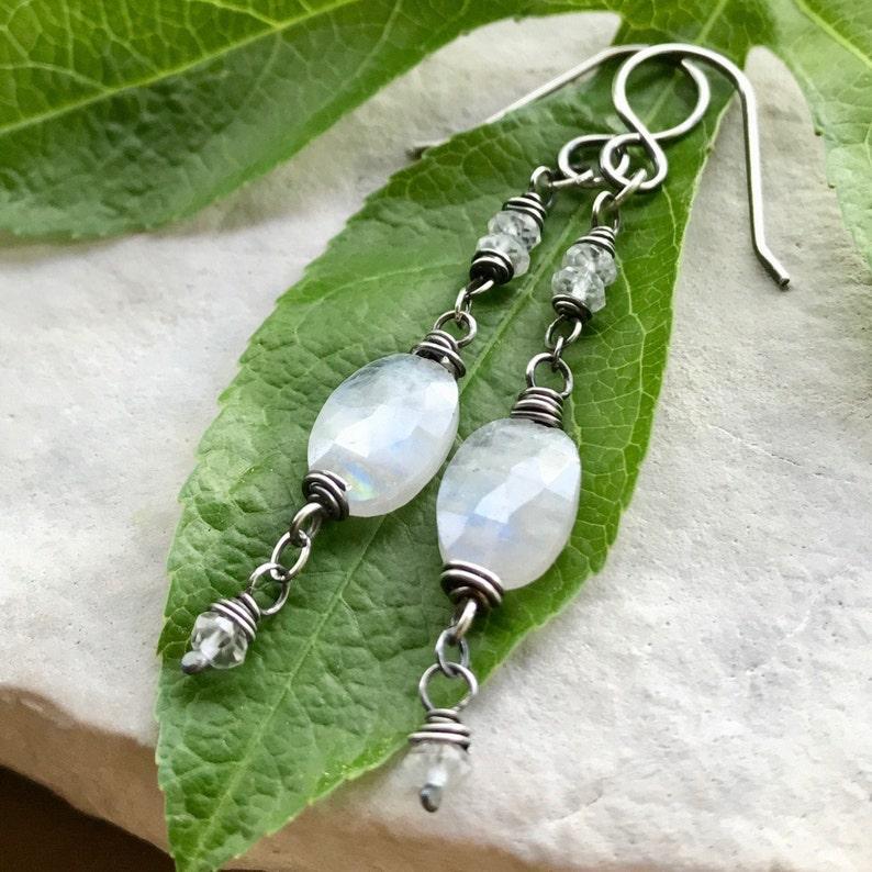 Moonstone Earrings Sterling Silver June Birthstone Dangle image 0