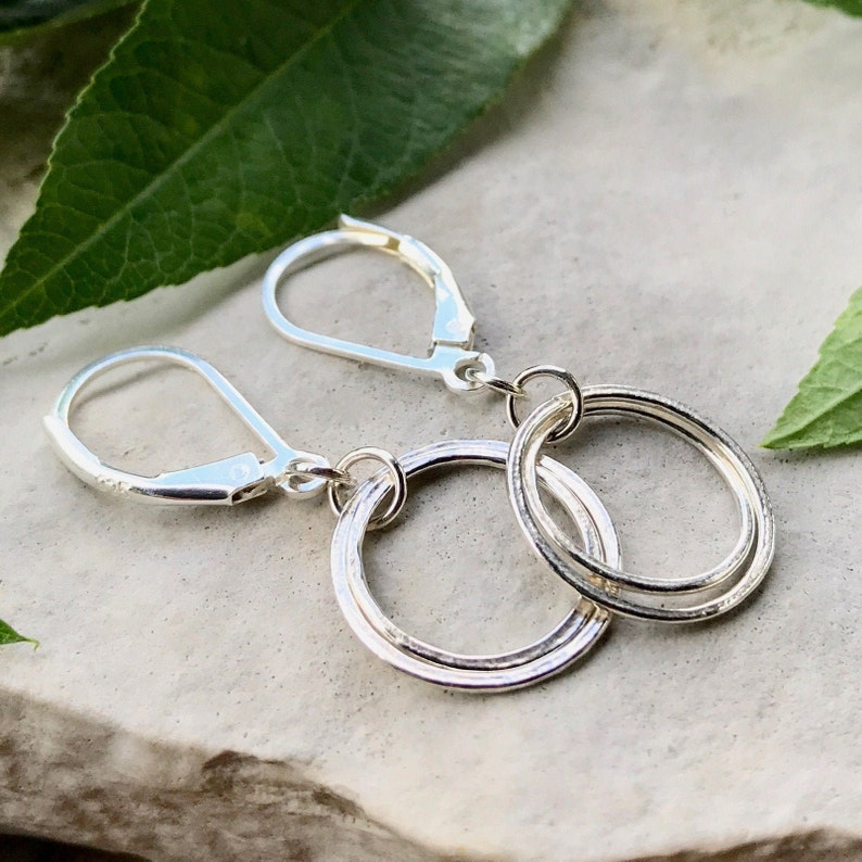 Small Circle Earrings Open Circle Earrings Sterling Silver image 0