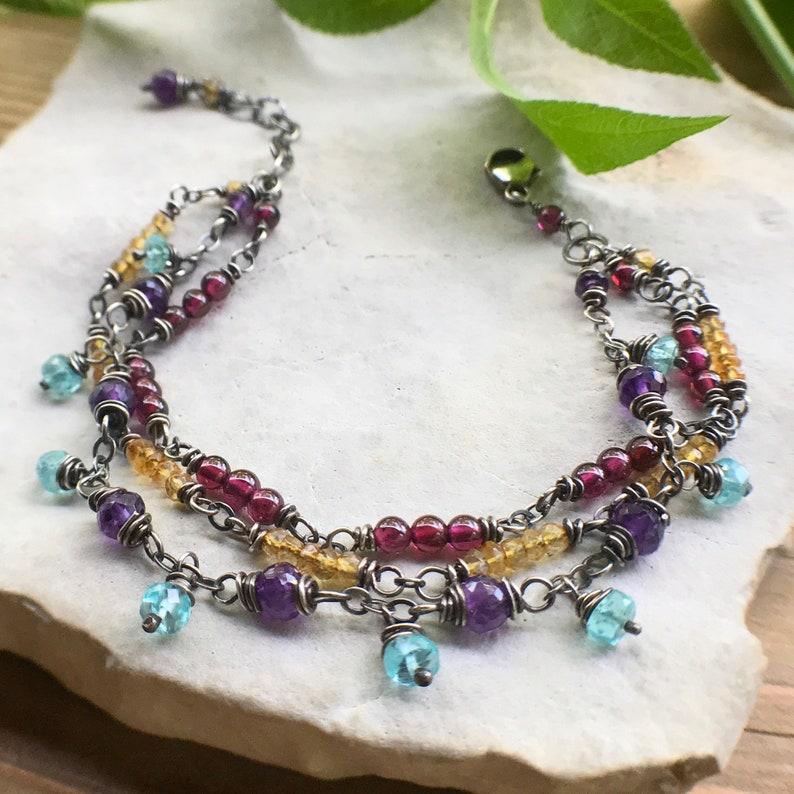 Multicolor Bracelet Gypsy Bracelet Sterling Silver Layered image 0