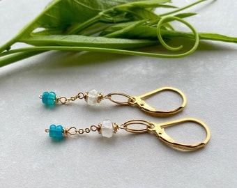 Gold Moonstone & Opal Earrings,  Beaded Gemstone Chain Dangle Earrings, Elegant Bohemian Style, June Birthstone