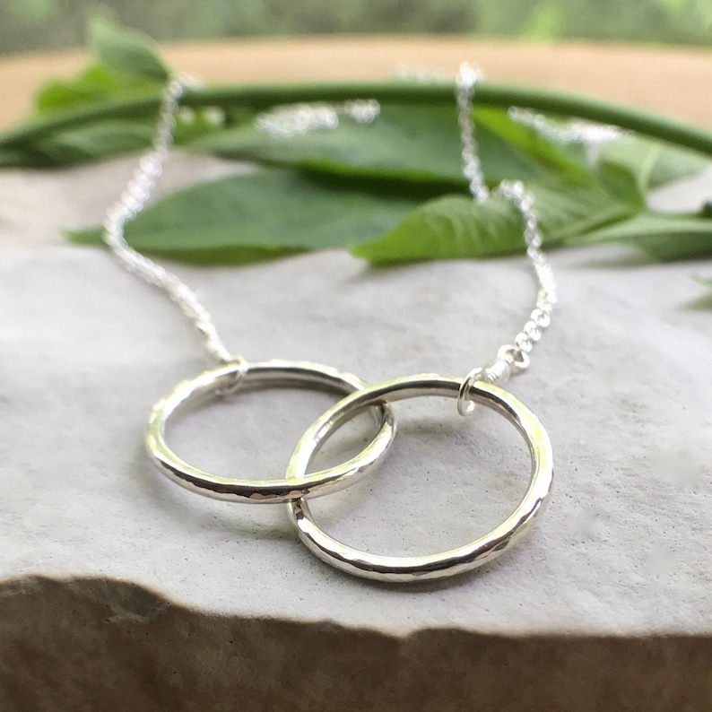 Infinity Necklace Sterling Silver Interlocking Circles image 0