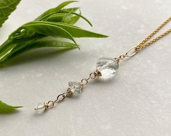 Elegant Crystal Pendant Necklace, Gold Filled Quartz & Herkimer Diamond Gemstone Dangle Charm, Interchangeable Layering, April Birthstone