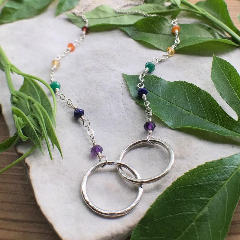 Pride Necklace Interlocking Circle Necklace Rainbow Infinity image 0