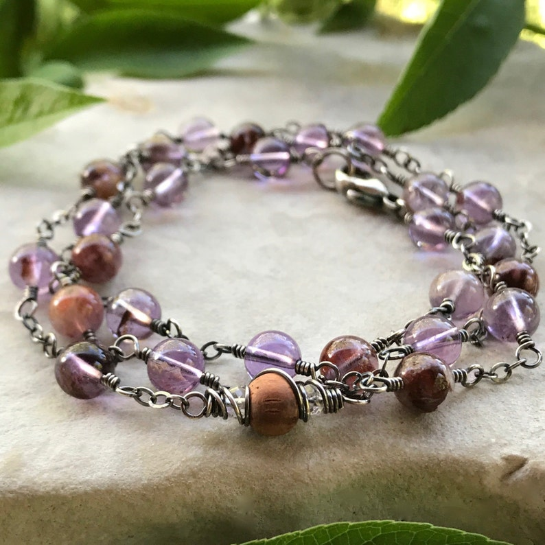 Amethyst Wrap Around Bracelet or Aromatherapy Necklace image 0
